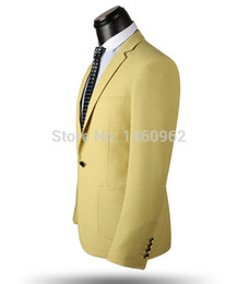 Wholesale-Carpaton new fashion korean stylish on sale men multifunction dress suit, light yellow color, two-piece one buckle 2 pockets