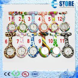 Wholesale Silicone Nurse Pocket Watch Candy Colors Zebra Leopard Prints Soft band brooch Nurse Watch patterns wu