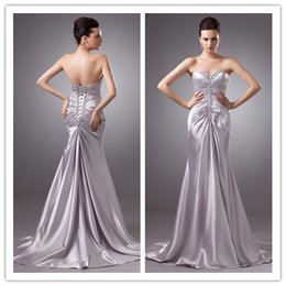 Wholesale 2016 Formal Dance Fashion Silver Long Strapless Ruch Stretch Satin Crystals Pageant Evening Dresses Gowns For Women ed8024