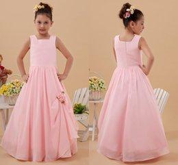 Wholesale 2015 eye catching Spaghetti Sleeveless Floor Length Zipper Ball Gown Flower Girls Dresses Custom made Flower Trimmed Square Pink Flower Gir