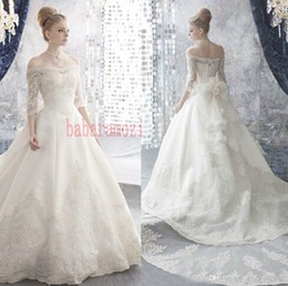 Wholesale 2015 New Vintage Lace Wedding Dresses Off Shoulder Sheer Court Train A Line Bow Tie Sexy Backless Bridal Gowns