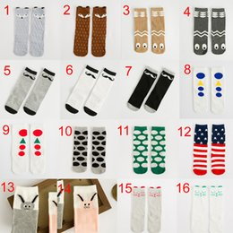 Wholesale 18 Styles Children cartoon Fox Rbbit Bear Long tube socks New lovely boy Girls T Leg Warmer boot Socks cotton socks