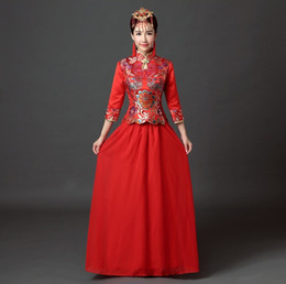 Shanghai Story Chinese traditioal clothing chinese cheongsam dress vintage chinese style dress Red color vistido de festa