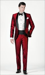 Excellent Style One Button Dark Red Groom Tuxedos Shawl Lapel Groomsmen Mens Wedding Dresses Prom Suits (Jacket+Pants+Girdle+Tie) H338