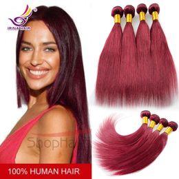 Burgundy Vietnamese Virgin Hair Straight 3pcs 7A Red 100% Unprocessed Remy Human hair Extension 99J Hair Weaves Irina Brazilian Virgin Hair