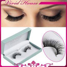 Wholesale-Natural Make Up Human Hair Eyelashes #2 Thick Black Handmade Full Strip Lashes Fake Eyelash Extensions Free Shipping