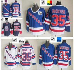 2016 New, Cheap Sale New York Rangers #35 Mike Richter Hockey Jerseys Wholesale Best Quality Blue White 100% Stitched Mike Richter Jer