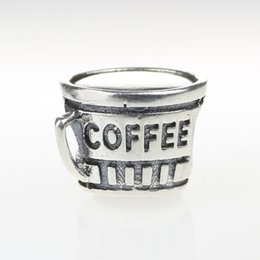 Beads Hunter Jewelry Authentic solid 925 Sterling Silver My Favorite Coffee Mug Charm big hole bead for 3mm European Bracelets snake chains