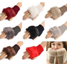 Wholesale Women Girl Knitted Faux Rabbit Fur gloves Mittens Winter Arm Length Warmer outdoor Fingerless Gloves colorful XMAS gifts ems