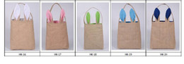 Wholesale Funny Design Easter Bunny Bag Ears Bags Cotton Material Easter Burlap Celebration Gifts Christma bag cotton handbag Free DHL