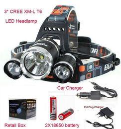 Wholesale 5000LM JR X CREE XML T6 LED Headlamp Headlight Mode Head Lamp charger battery