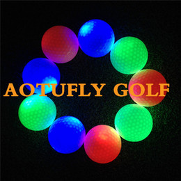 Wholesale New LED flash golf balls layers glow at night fashion golf club balls bee holes G colorful
