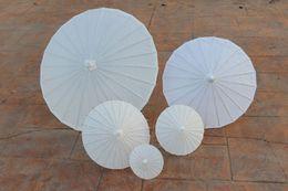 Wholesale New White paper parasols DIY painting umbrellas Chinese craft umbrella Bridal wedding parasol sizes available Long handle Drop shipping