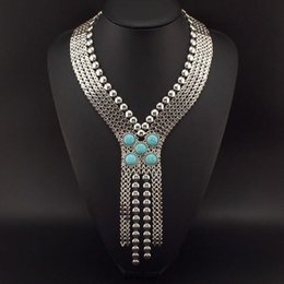 Wholesale 2015 New Ancient Egypt Style Statement Jewelry Fashion Chunky Chain Welding Turquoise Long Necklaces Women Evening Dress N2189