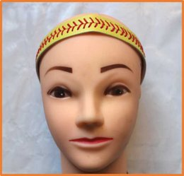 Wholesale 50pcs high quality real leather softball seam headband yellow softball headbands Many colors to choose from