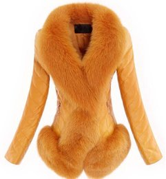 Wholesale 2016 Winter fox fur genuine leather down coat women s leather jacket ladies medium long slim plus size fur coat outerwear M XL T147