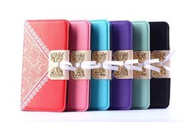 Pop C9 C7 Case Lace Bow Photo Frame Wallet Credit Card Slots Case For Alcatel One Touch POP C7 C9 OT6012 OT6030 OT6033 Free Shipping (A0442)