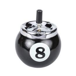 Wholesale Pool Ball Billiard Ball Push Button Metal Ashtray