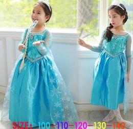 Wholesale Children Frozen Dress Elsa Girls Princess Paillette Yarn Flower Tulle Dresses Kids Lace Dress D5931