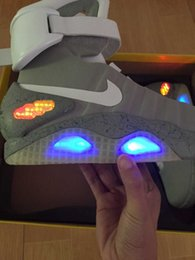 Wholesale Nike Air mag Back to the Future LED Mens Nike Mag Basketball Shoes Fashion Mens running Shoes Luxury Grey size factory_store01