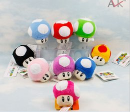 Wholesale-1PCS NEW 6CM Super Mario Plush Doll super mario mushroom Key chains toys Free shipping