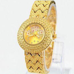 Wholesale Brand Women Watches Luxury Gold Plated Alloy Bracelet New Fashion Lady Quartz Clock with diamond Movement relogio feminino