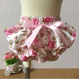 Ruffle Cloth diapers Baby Girls Satin Bloomer Floral Bloomer newborn outfit Kids bloomers with bow wholesale