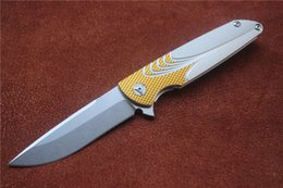 Wholesale Brian Nadeau Tactical Survival Typhoon Flipper Bearing Folding Knife D2 Stone wash Blade Gold Silver Alu Sheet Handle EDC tools