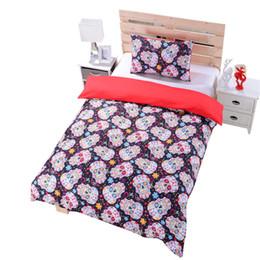 Wholesale-New Sugar Skull Bedding Duvet Cover Set Twin Full Queen Sugar Skull Bedding CA AU US UK Size Skull Bed Sheets