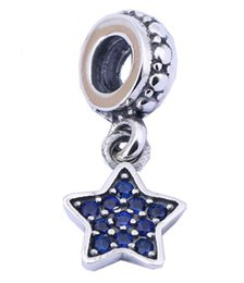 100% Sterling Silver Charms 925 Ale Dangled Rhinestone Star Charms for Pandora Bracelets DIY European Beads Accessories