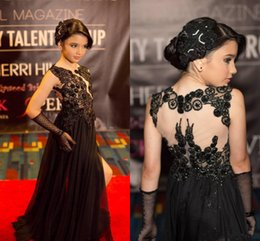 Sexy Black Lace Girls Pageant Dresses 2016 Sparkly Applique Chiffon A Line Children Prom Party Dresses Flower Girls Dresses For Wedding