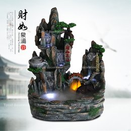 Wholesale Chinese style fengshui artificial waterfall resin craft indoor air humidity fountain ornaments for club deco