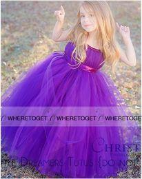2019 Lovely Cheap Purple Flower Girls Dresses for Wedding Tulle Ball Gown Communion Dresses Kids Birthday Party Christmas Dresses