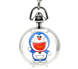 Wholesale Cat Doraemon Animated cartoon enamel White steel Children pendant Take the mirror quartz Necklace chain pocket watch