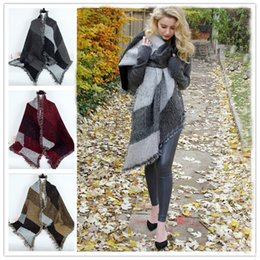 Wholesale 3 colors Women Winter Warm Blanket scarf Cashmere Plaid Wool Poncho scarf Cape Pashmina Wool Scarf Shawl LA179