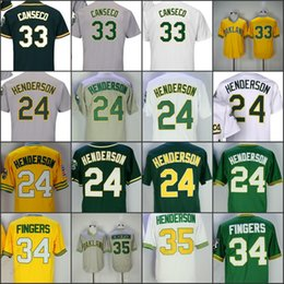 Oakland Men Flexbase jersey 24 Ricky Henderson #33 Jose Canseco 35 Rickey Henderson Rollie Fingers baseball jersey throwback stitched