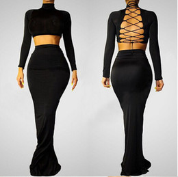 Wholesale Two Pieces Hollow out Long sleeve Tied Back Mermaid Dress Evening Dress