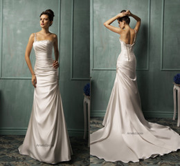 Crystals Beaded Straps One-shoulder Mermaid Wedding Dresses 2015 Ruched Satin Ivory Backless Wedding Gowns Amelia Sposa Wedding Gowns GD-103