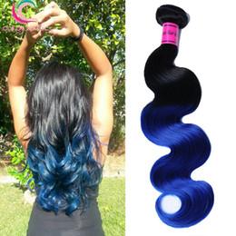 """1B Blue Brazilian Ombre Virgin Hair 100g pcs Ombre Human Hair Weaves 8"""" - 30"""" Ombre Brazilian Body Wave Virgin Hair Bundles Deal"""