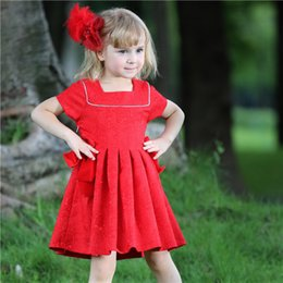 Pettigirl Retail Christmas Baby Girls Red Dresses For Kids Clothing With Bow And Ruffle Children Jacquard Dress GD80613-6F