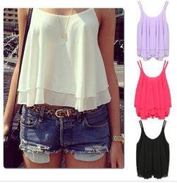 Summer Chiffon Blouse Sexy Back Strap Tops Vest T-shirt Chiffon Casual Shirts Hot Womens Sleeveless and Condole Belt Cloth