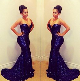 Wholesale 2016 Sequins Backless Blingbling Sexy Mermaid Prom Dresses Shining Sweetheart Court Train Formal Celebrity Evening Gowns Plus Size BO5349