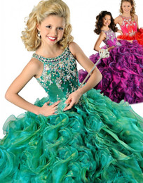 2019 New Arrival Princess Flower Girl Dresses Scoop Crystal Ruffles Ball Gown Floor Length Organza Lovely Green Girls Pageant Dresses Gowns