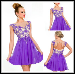Wholesale Beauty Purple Cocktail Dresses Chiffon Jewel Cap Sleeve A Line Crystal Short Evening Dress Formal Women Special Occasion Party Gowns Online