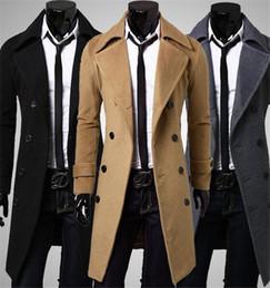 2016 New Brand Autumn mens long pea coat Men's woolen Coat Turn down Collar Double Breasted men trench coat