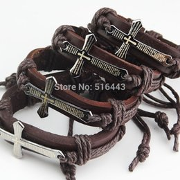 Wholesale Hot Sale Religious pc Fashion Jewelry Stainless steel Leather Bible Cross Bracelets Bangles Mens Womens A043