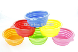 Wholesale 50pcs new Portable Dog Cat Pet Collapsible Travel Feeding Feeder Foldable Folding Silicon Silicone Bowl FAST SHIPPING