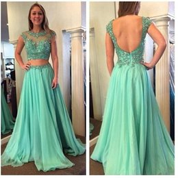 Two Pieces Sheer Beading Prom Dresses 2015 Fashion Jewel Neck A line Chiffon Fabric Evening Formal Dress Custom Pleated Appliques Party Gown