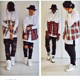 Wholesale 2016hip hop clothi Cool hba men streetwear t shirts side zipper plaid Pockets lines Red flannel brand Tyga Shirt tartan mma clothes