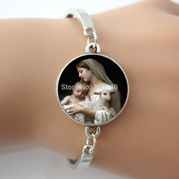 Wholesale Nativity Virgin Mary Jesus and Lamb Bracelet Spiritual Religious Mother and Baby Sheep Bracelet one piece free Shippng BW001
